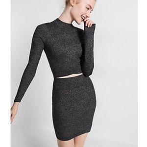 EXPRESS TWO PIECE RIBBED CROPPED SWEATER W/ MINI
